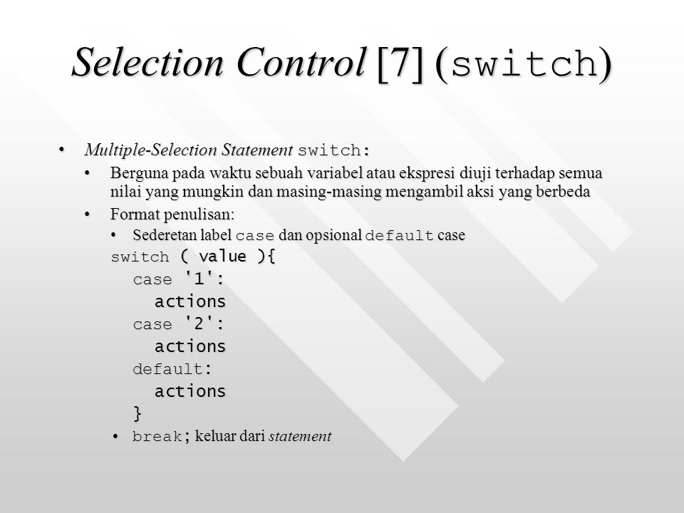 Selection Control [7] (switch)
